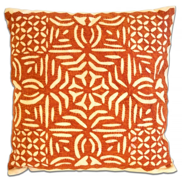 Orange Patterned Square Throw Pillow