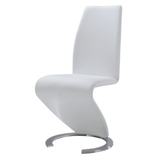 Modern White Polyurethane Leather Dining Chair