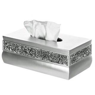 Rectangular Brushed Nickel Tissue Box - silver