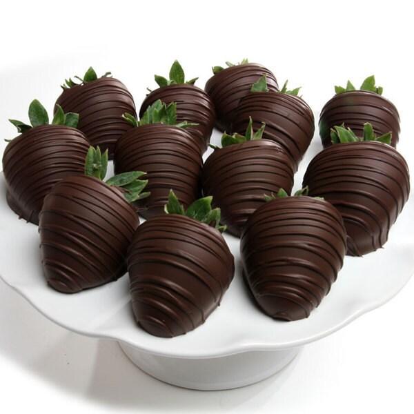 Dark Belgian Chocolate Covered Strawberries (Pack of 6)