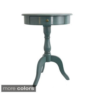 Teal Pedestal Table with Drawer