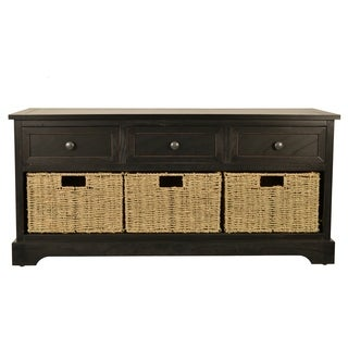 Montgomery Black and Woven Basket Bench