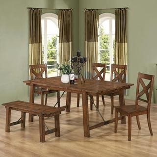 Burke Rustic Oak Country Dining Set