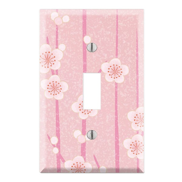 Decorative Pink Flower Wall Plate Cover