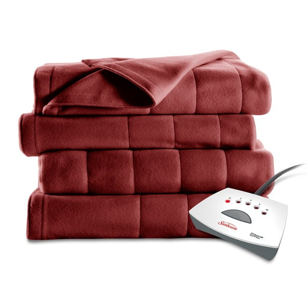 Sunbeam Full-size Garnet Square Quilted Fleece Heated Blanket