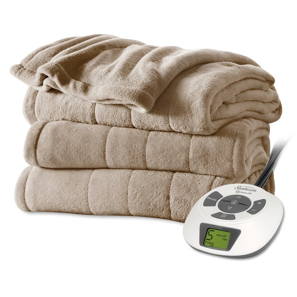 "Sunbeam Mushroom Plush Electric Blanket (90"" x 100"")"
