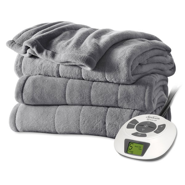 "Sunbeam Slate Plush Electric Blanket (84"" x 90"")"