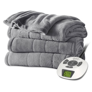 Sunbeam Grey Plush Electric Blanket