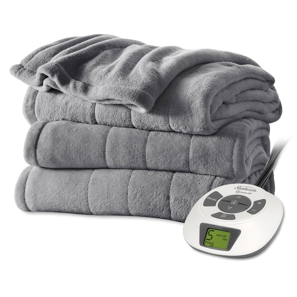 Sunbeam Grey Plush Electric Blanket