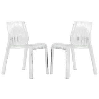 Denville Transparent Clear Modern Dining Chair (Set of 2)