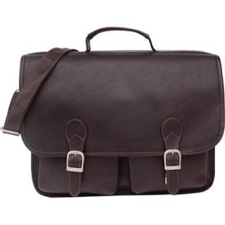 Piel Leather Executive Chocolate Leather Flapover Briefcase