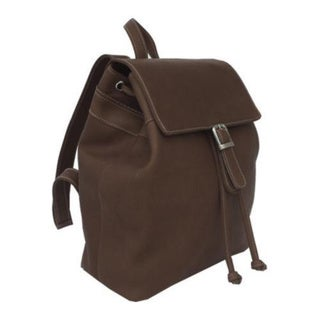 Women's Piel Leather Top Flap Drawstring Backpack 2400 Chocolate Leather