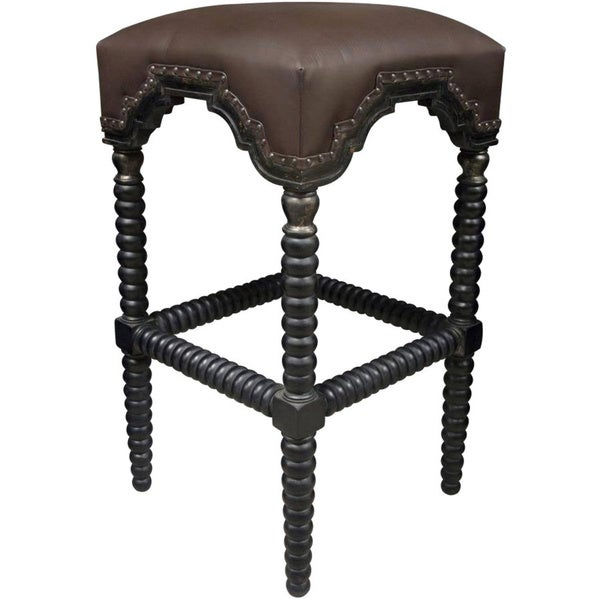 Ridged Hand-rubbbed Black Nailhead-trim Bar Stool