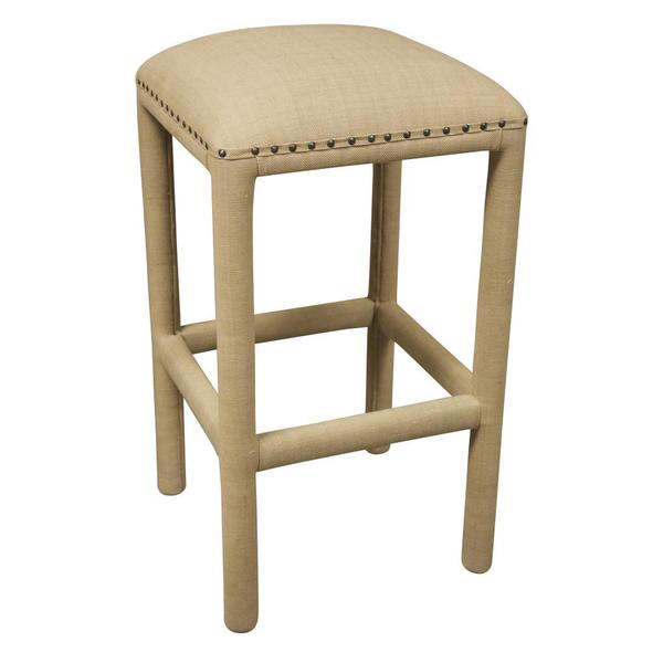 Amy Beige Nailhead-trim Upholstered Stool