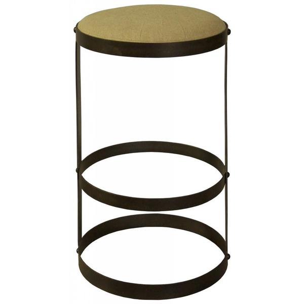 Dior Mahogany and Suede Minimalist Round Stool