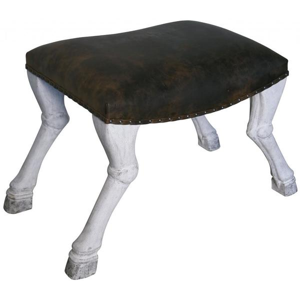 Vintage Fabric Horse-leg Saddle Stool