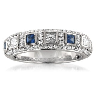 14k White Gold Blue Sapphire and 1/2ct TDW White Diamond Wedding Band (H-I, I1)
