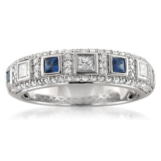Montebello 14k White Gold Blue Sapphire and 1/2ct TDW White Diamond Wedding Band (H-I, I1)