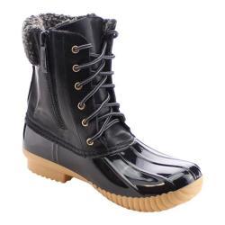 Women's Beston Duck-02 Boot Black Faux Leather/PVC/Faux Fur