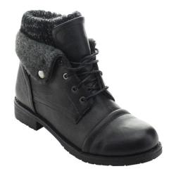 Women's Beston Sweater-02 Ankle Boot Black Faux Leather