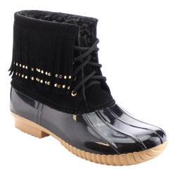 Women's Beston Duck-03 Boot Black Faux Suede/PVC