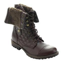 Women's Beston Galaxy-02 Ankle Boot Brown Faux Leather/Faux Fur
