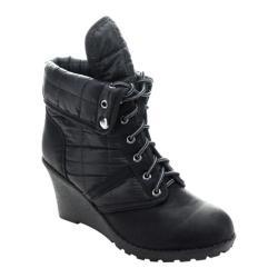 Women's Beston Godiva-02 Wedge Boot Black Faux Leather