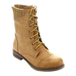 Women's Beston Sweater-01 Ankle Boot Tan Faux Leather/Faux Fur
