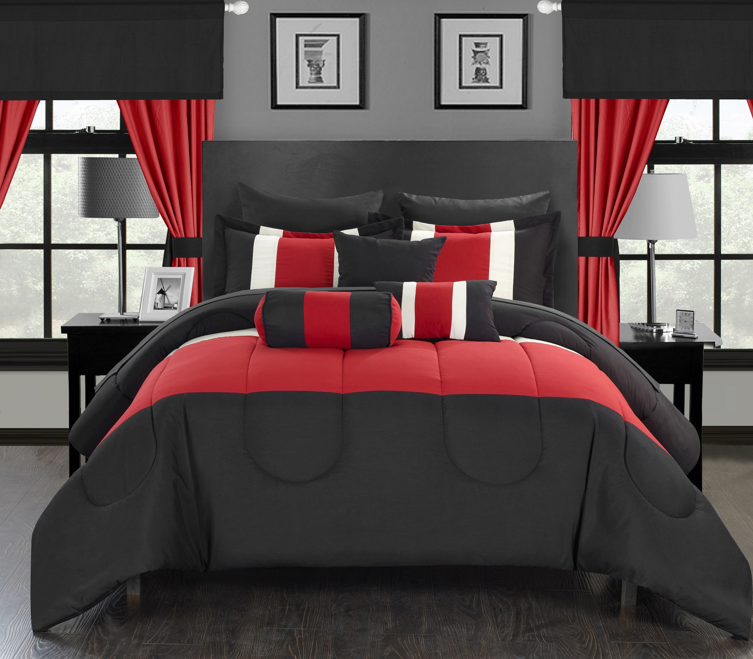 Catherine Flocking Black And Red Bed For Sale