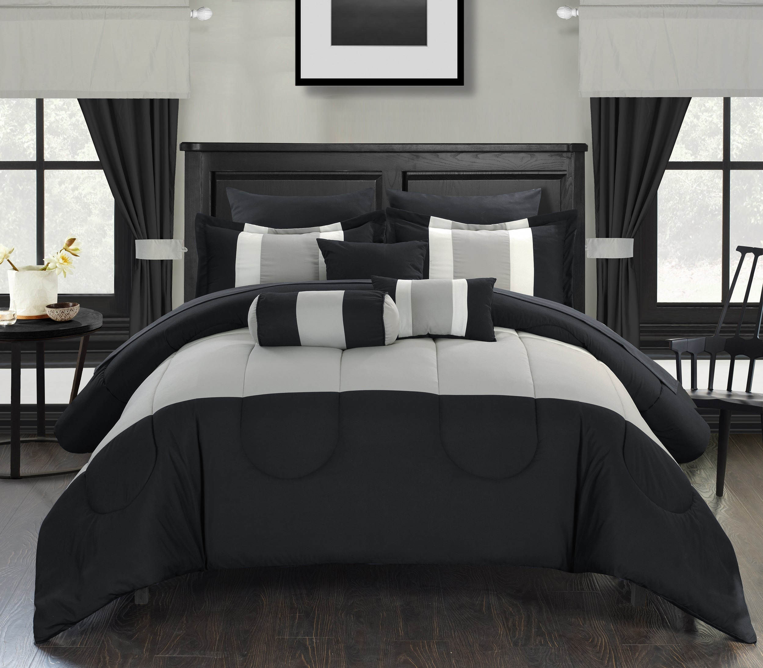 Chic Home 20-piece Whitehall Bed-in-a-Bag Black Comforter Set with Sheets and Window Treatment