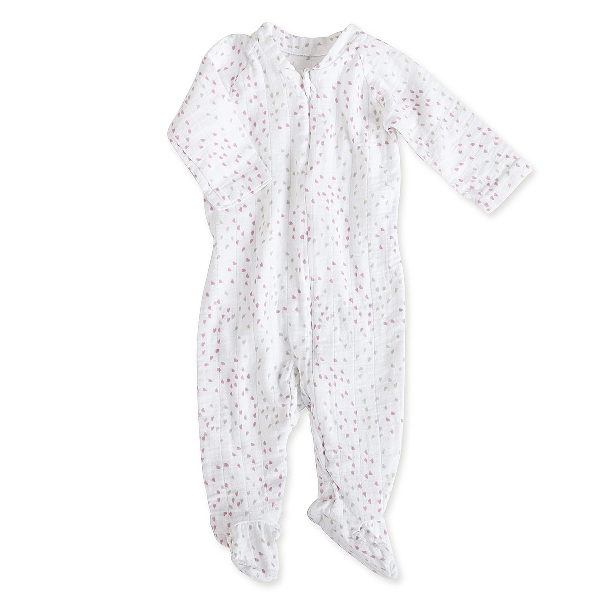 aden + anais Girls 6-9 Months Lovely Mini Hearts Muslin Long-Sleeve Zip One Piece