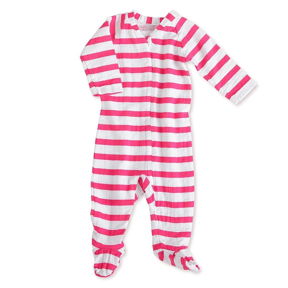 aden + anais Girls 6-9 Months Pink Blazer Stripe Muslin Long-Sleeve Zip One Piece