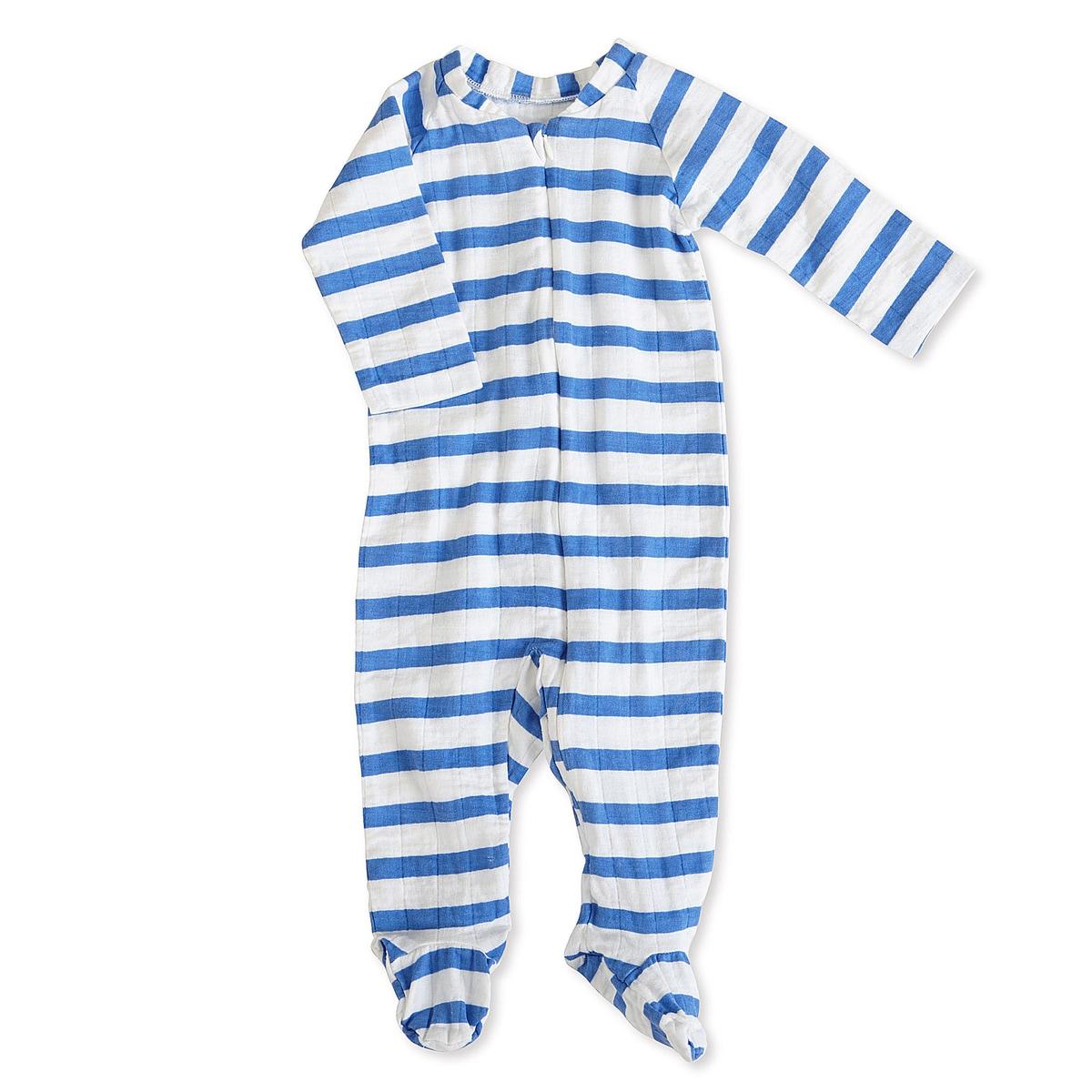 aden + anais Boys 6-9 Months Ultramarine Blazer Stripe Muslin Long-Sleeve Zip One Piece