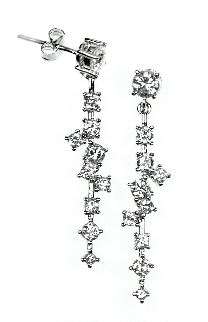 Quality Sterling Silver White Cubic Zirconia Waterfall Dangle Post Earrings