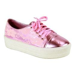 Women's Reneeze Ola-02 High Platform Lace-up Sneaker Pink PU