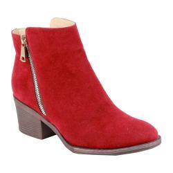 Women's Reneeze Pama-01 Stacked Heel Ankle Bootie Red