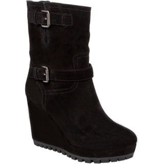 Prada Women's Black Suede Dual Bucklestrap Wedge Boots