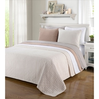 Simple Elegance Williams Cotton Stitched 3-piece Quilt Set