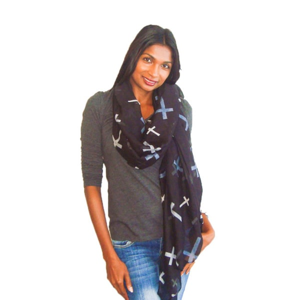 Black/ Multi Printed Cross Fashion Scarf