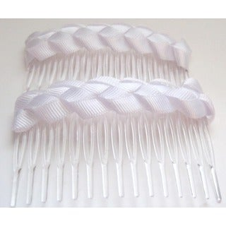 Crawford Corner Shop White Braided Comb Hair Accessory