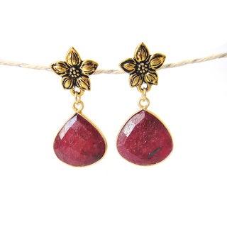 22k Gold Vermeil Flower and Ruby Birthstone Dangle Earrings