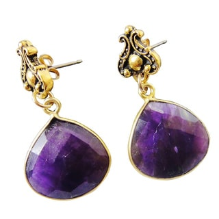 22k Gold Vermeil Amethyst Celtic Circle Birthstone Earrings