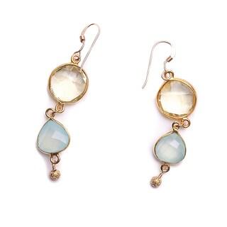 22k Gold Vermeil Bezel Lemon Topaz and Blue Chalcedony Earrings