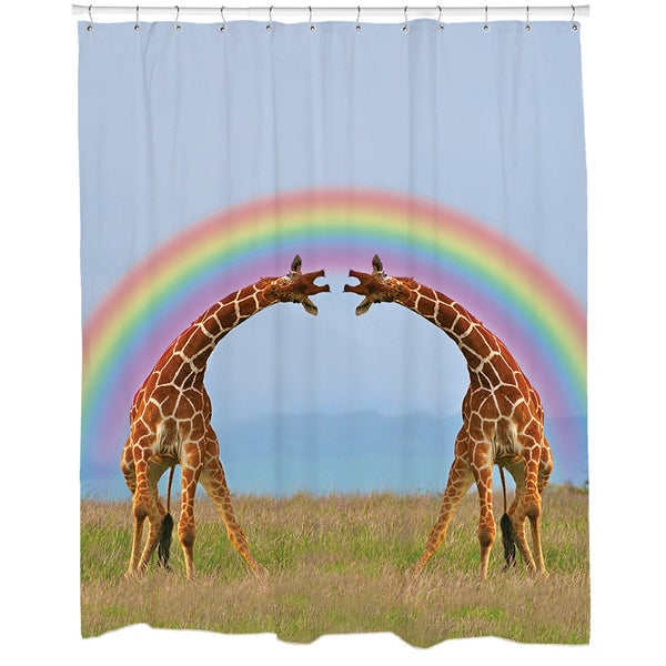 Giraffe Double Rainbow Shower Curtain