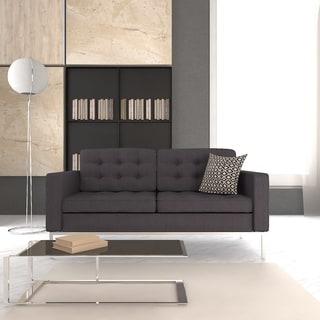 Lorane Modern Dark Grey Wool Button-tufted Loveseat