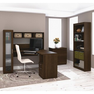 Bestar Jazz Corner Workstation with Lateral File and Bookcase