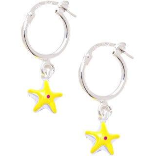 Sterling Silver Children's Yellow/ Pink Enamel Star Charm Hoop Earrings
