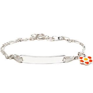 Sterling Silver Children's Orange/ Yellow Enamel Flower Charm ID Bracelet