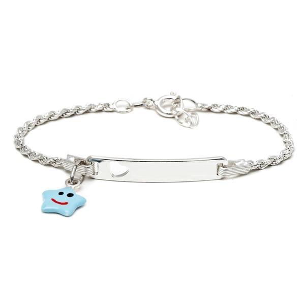 Sterling Silver Children's Light Blue Enamel Star Charm ID Bracelet