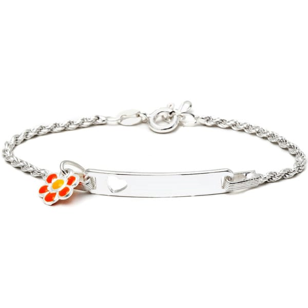 Sterling Silver Children's Bright Orange Enamel Flower Charm ID Bracelet